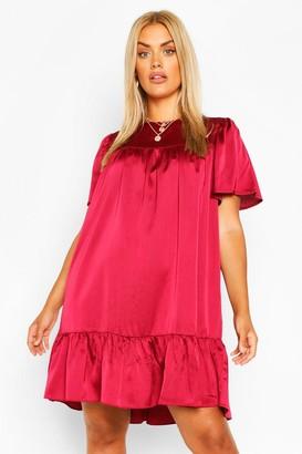 boohoo Plus Satin Ruffle Tiered Smock Dress