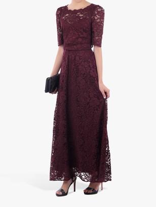 Jolie Moi Elbow Sleeve Lace Dress, Burgundy