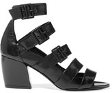 Pierre Hardy Parallele Buckled Glossed Textured-leather Sandals - Black