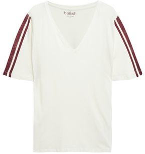 BA&SH Striped Cotton And Cashmere-blend Jersey Top