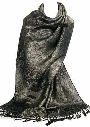 GFM Gorgeous Pashmina Style with Paisley Design Scarf Black and Gold (P001-KLSN)