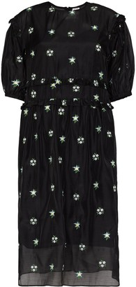 Shrimps Theodore floral-embroidered organza midi dress