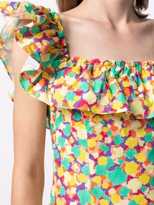 Rixo Abstract-Print Ruffle-Trim Dress