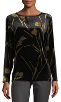 Lafayette 148 New York Nessa Long-Sleeve Golden Blooms Floral Velvet Blouse