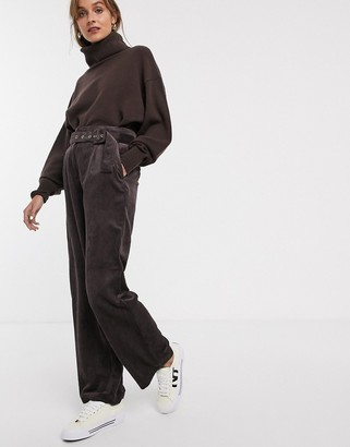 Only cord wide leg trouser with belt in brown-Purple