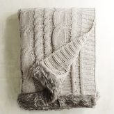 Pier 1 Imports Taupe Cable-Knit Faux Fur Trim Throw
