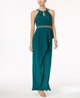Betsy & Adam Embellished Halter Gown