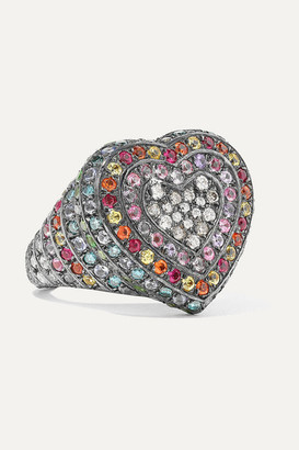 Carolina Bucci 18-karat Blackened Gold Multi-stone Ring - 6