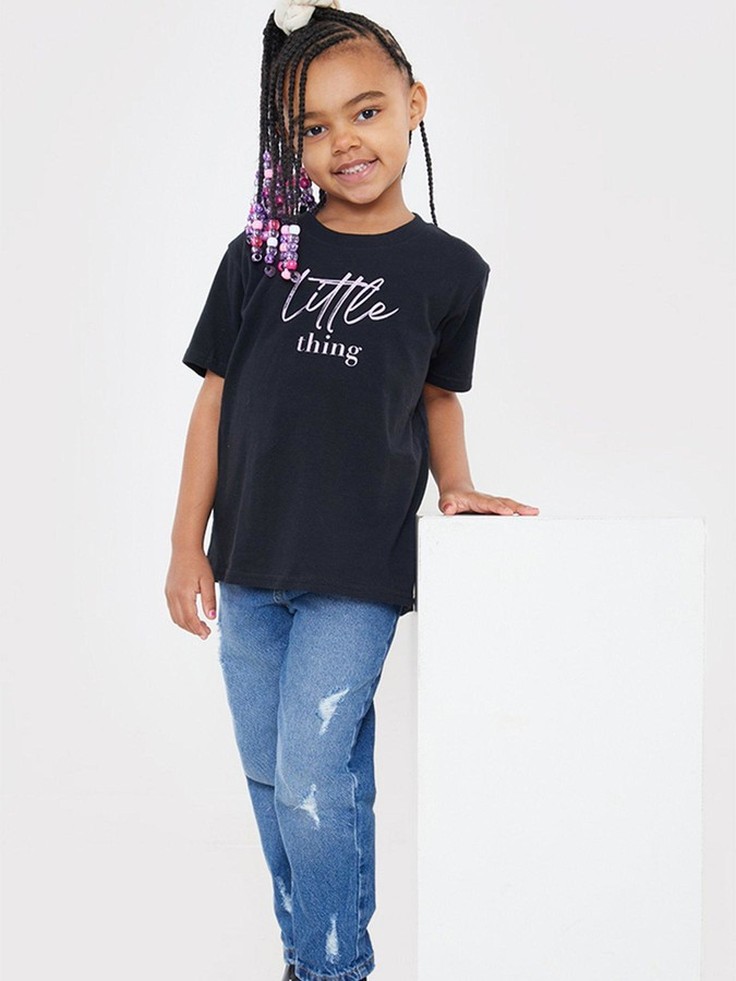 Thumbnail for your product : In The Style XJac Jossa Mini Me UnisexLittle Thing Slogan T-Shirt - Black