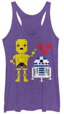 Fifth Sun Star Wars C-3PO R2-D2 Droid Love Valentine's Tri-Blend Racer Back Tank