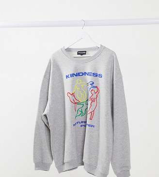 New Girl Order Curve oversized sweatshirt with kindness graphic