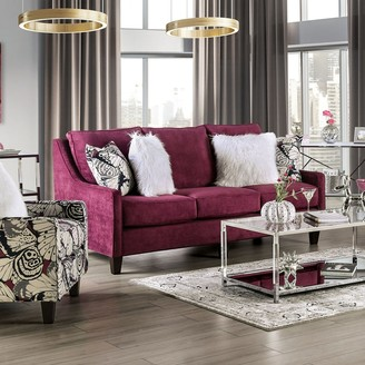Furniture of America Soll Transitional Plum Chenille Sofa