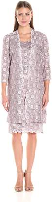 R & M Richards R&M Richards Women's Scalloped Lace Dress with Long Jacket