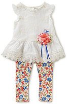 Rare Editions Baby Girls 12-24 Months Eyelet-Trimmed Lace Dress & Floral-Printed Leggings Set