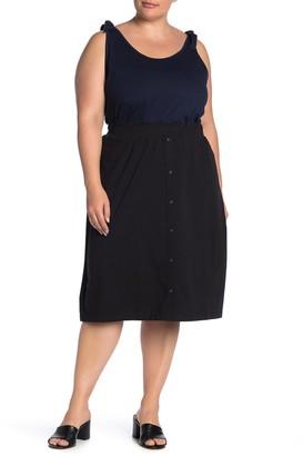 Junarose Jrmaci Button Trim Midi Skirt (Plus Size)