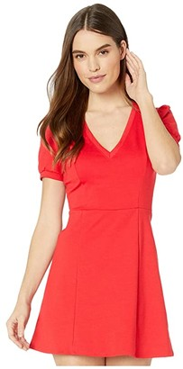 BCBGeneration Short Sleeve Fit-and-Flare Dress XGN6291489 (Electric Red) Women's Clothing