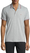 Moncler Stripe-Tipped Short-Sleeve Polo Shirt, Gray