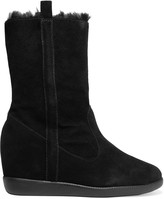 Schutz Eloana faux fur-lined suede wedge boots