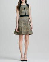 Ali Ro Metallic Tweed Fit-and-Flare Dress