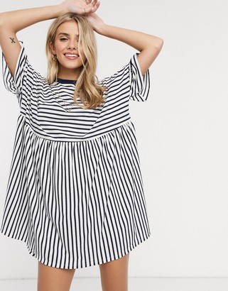 Asos DESIGN oversized smock t-shirt dress in navy and white stripe