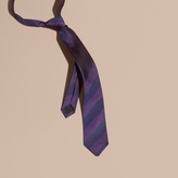 Burberry Slim Cut Stripe Jacquard Silk Tie, Purple