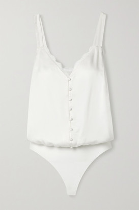 CAMI NYC The Ruthie Lace-trimmed Silk-satin And Stretch-jersey Thong Bodysuit - White