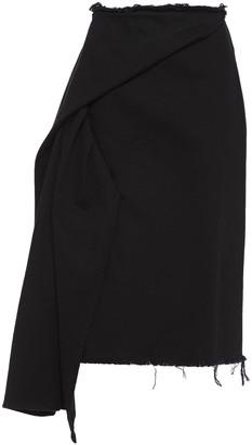 Marques Almeida Asymmetric Frayed Denim Skirt