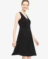 Ann Taylor Petite Pleated V-Neck Flare Dress