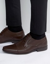 Asos Derby Shoes In Brown Faux Leather With Texture Emboss