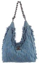 Chanel 2015 Fringe Embellished Denim Hobo