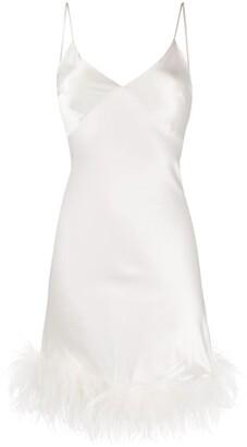 Gilda & Pearl Mia feather-trimmed silk dress