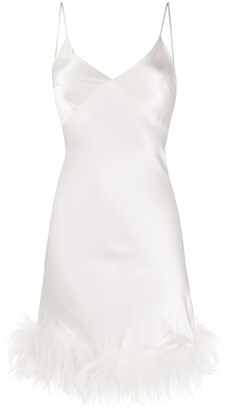 Gilda and Pearl Mia feather-trimmed silk dress