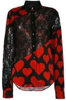 Philipp Plein heart lace panel shirt