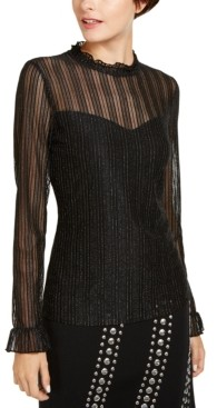 INC International Concepts Inc Mock-Neck Shine Top, Created for Macy's