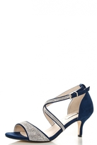 Quiz Navy Diamante Low Heel Sandals