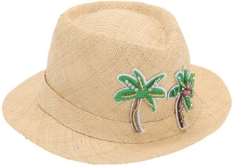 Palm Trees Embellished Straw Hat
