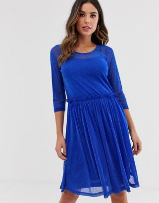 Ichi mesh midi skater dress-Blue