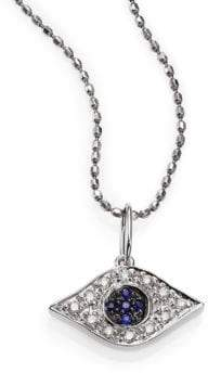 Sydney Evan Diamond, Sapphire& 14K White Gold Small Evil Eye Pendant Necklace