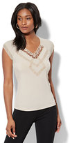New York & Co. 7th Avenue - Lace-Accent Cap-Sleeve Top