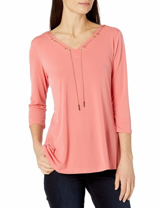 Notations Women's 3/4 Sleeve Swing Hem Top with Chain at Neck