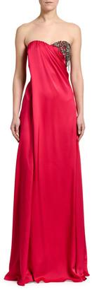 Alexander McQueen Strapless Silk Embroidered-Bust Gown