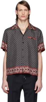Dolce & Gabbana Black and Burgundy Silk Bandana Print Shirt