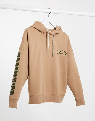 Quiksilver Boxy Fleeced hoodie in brown