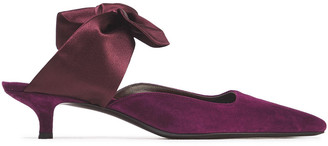 The Row Lily Rose Bow-detailed Suede And Satin Mules