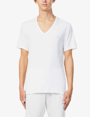 Calvin Klein Pack of two stretch-cotton deep V-neck T-shirts