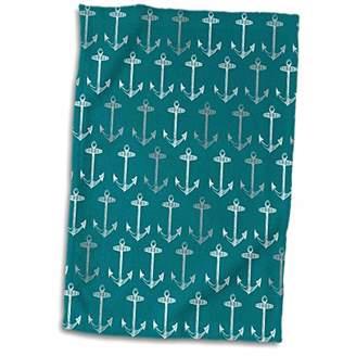 3D Rose Teal Blue Pattern-Vintage Nautical Turquoise Sailor Theme-Aqua Sea Ocean Ship Anchors Hand/Sports Towel