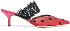 Malone Souliers X Emanuel Ungaro Maisie 45 Corded Lace And Polka-dot Satin Mules