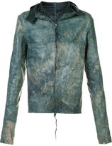 Ma+ wide collar leather jacket