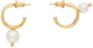 Simone Rocha Gold Mix-Match Pearl Hoop Earrings