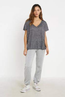 Project Social T Textured Knit V-Neck T-Shirt - grey S at Urban Outfitters